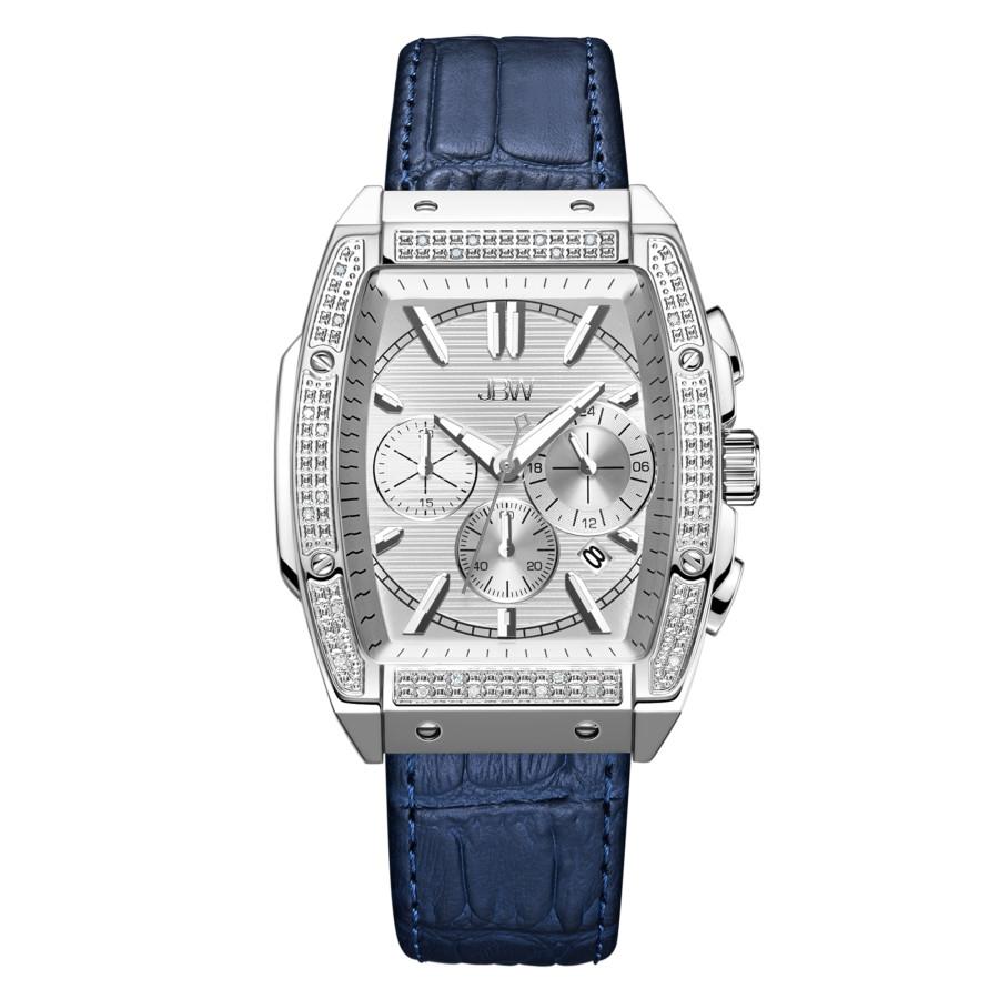 Jbw Echelon Quartz Silver Dial Blue Leather Mens Watch J6379c In Blue,silver Tone
