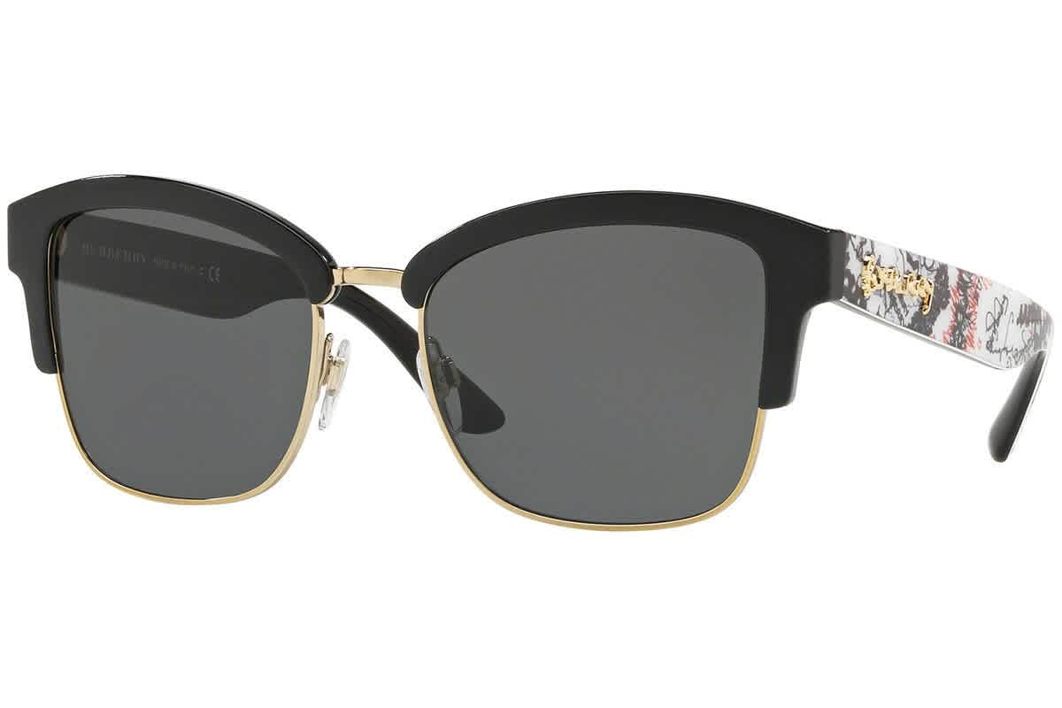 Burberry Grey Square Ladies Sunglasses Be4265 372387 In Black,gold Tone,grey