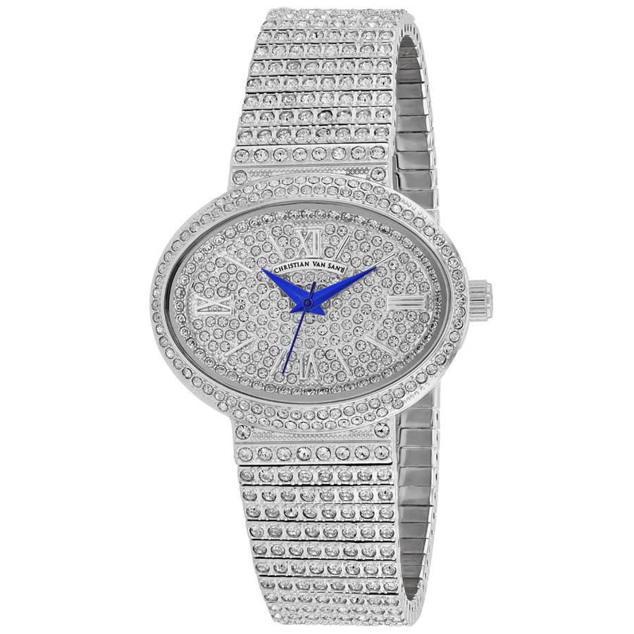 Christian Van Sant Sparkler Quartz Silver Dial Ladies Watch Cv0250 In Blue,silver Tone