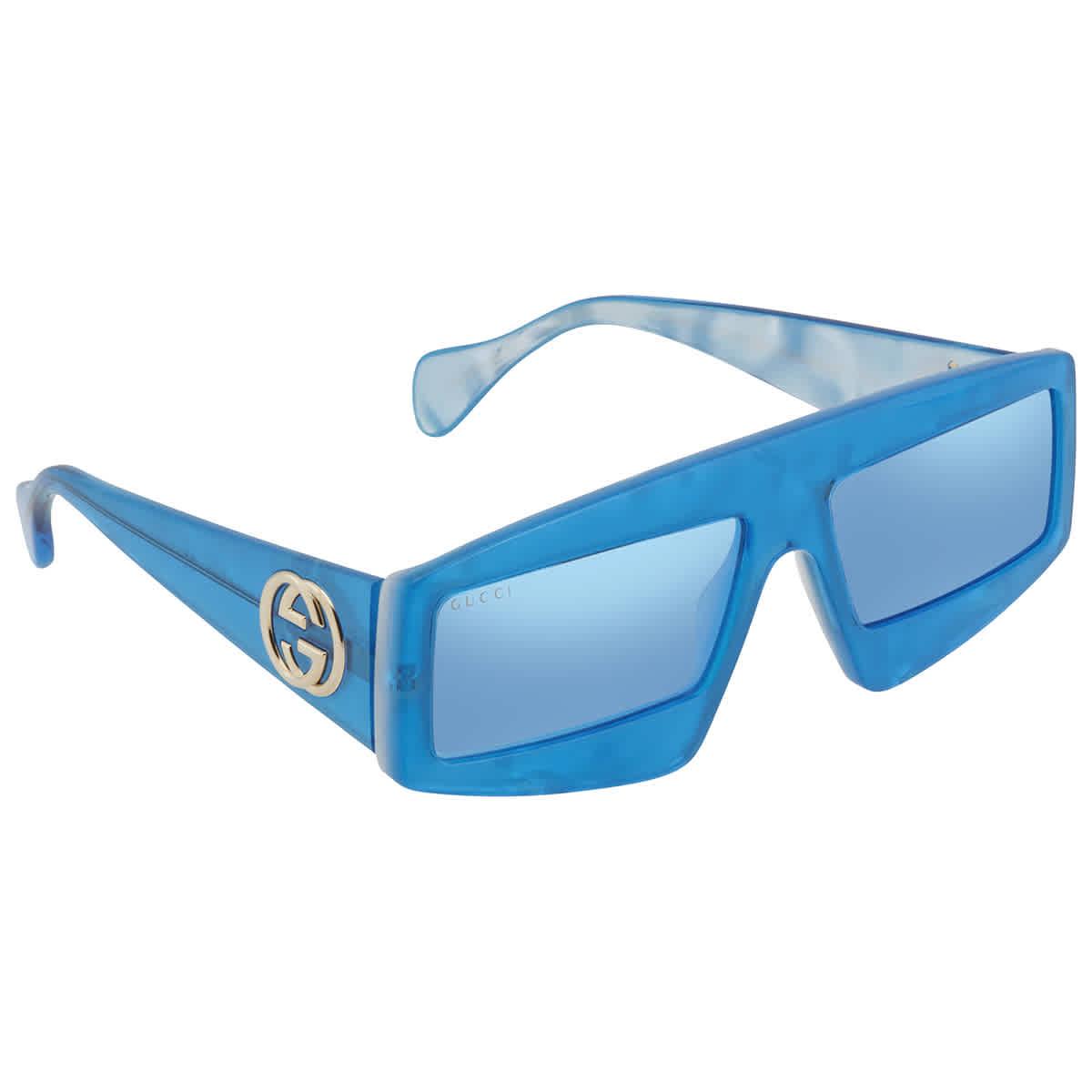 Gucci Blue Rectangular Ladies Sunglasses Gg0358s00461