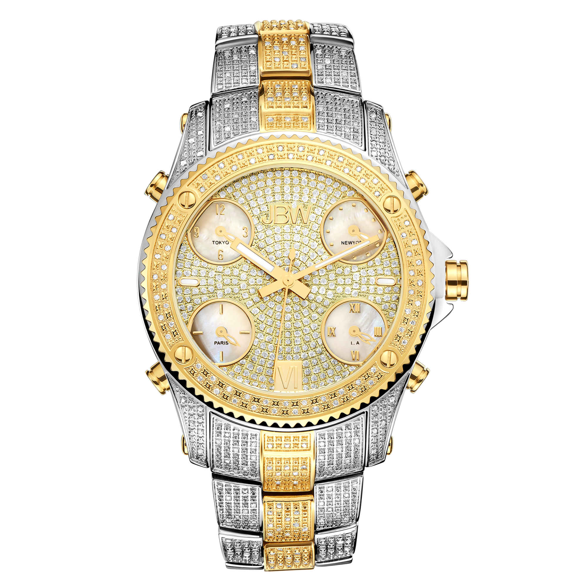 Jbw Jet Setter Two-tone Diamond Multiple Time Zone Mens Watch Jb-6213-e In Gold Tone,mother Of Pearl,silver Tone,two Tone