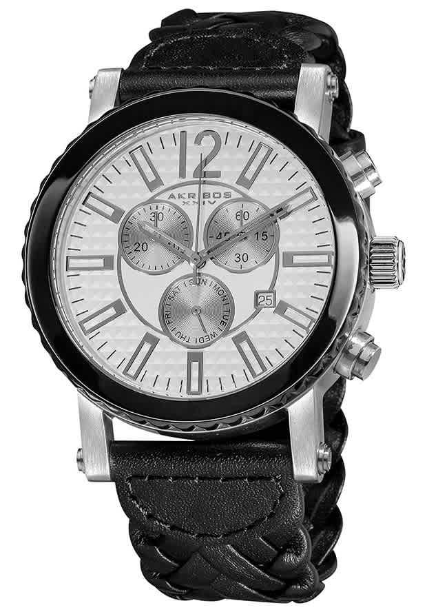 Akribos Xxiv Akribos Chronograph Black Leather Mens Watch Ak571bk