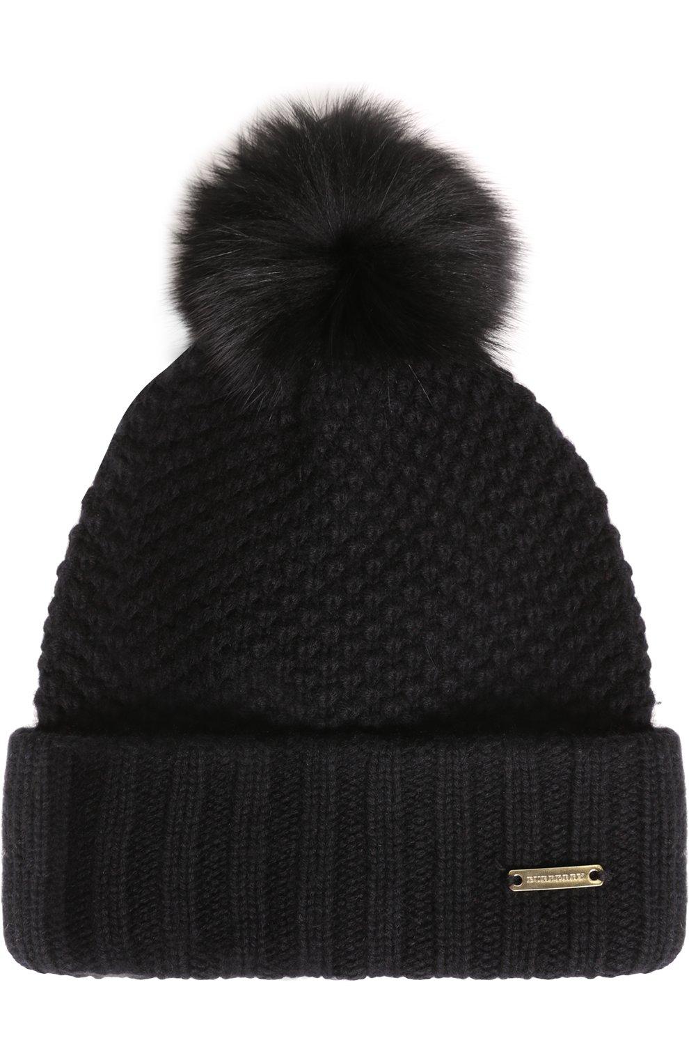 Burberry Fox Fur Pompom Black Beanie