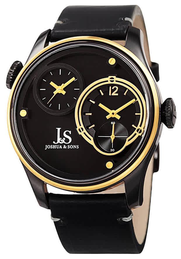 Joshua And Sons Quartz Black Dual Time Dial Mens Watch Jx118bkyg