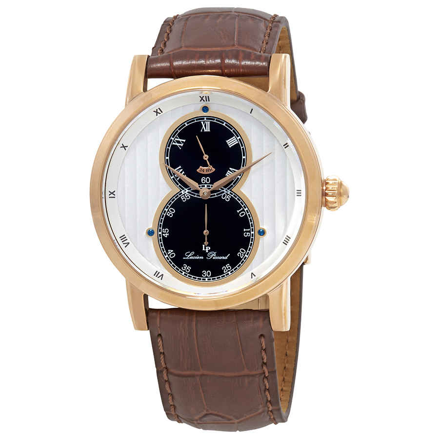 Lucien Piccard Dual Time Mens Watch 40044-rg-02s In Black,brown,gold Tone,pink,rose Gold Tone,silver Tone