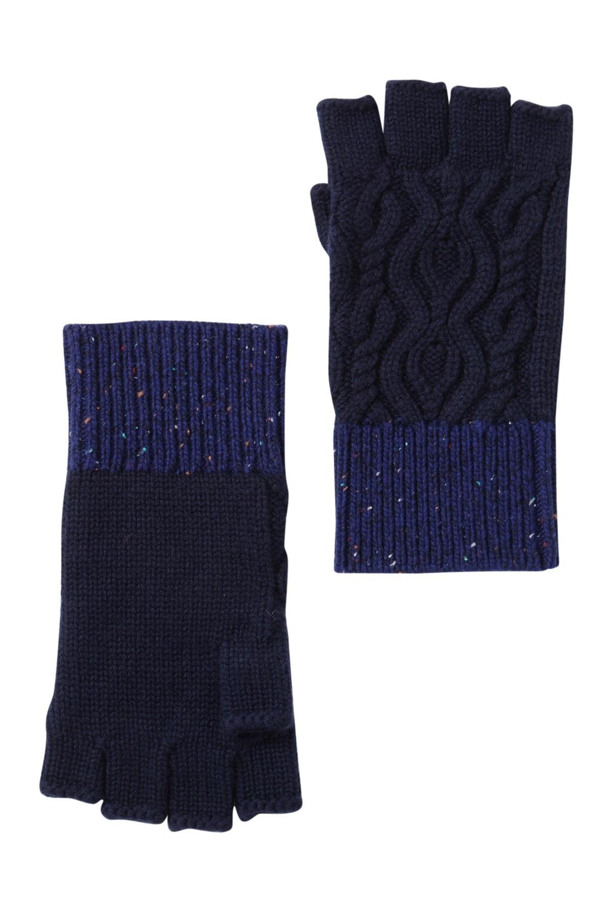 Burberry Ladies Colorblock Wool Blend Fingerless Gloves In Blue
