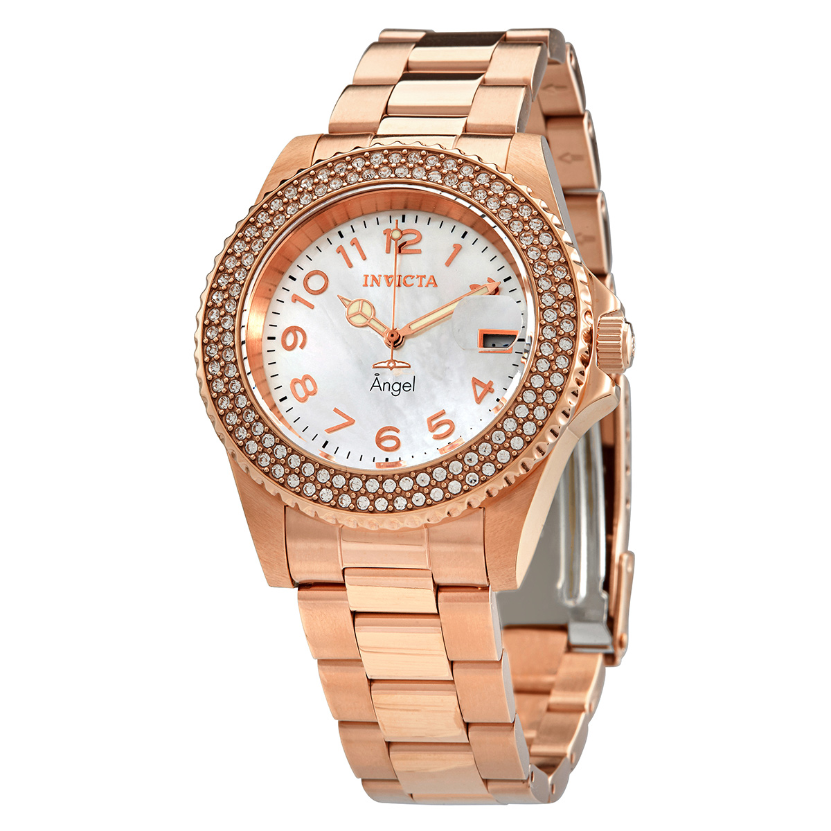 Invicta Angel Crystal White Mother Of Pearl Dial Ladies Watch 28674 In Metallic