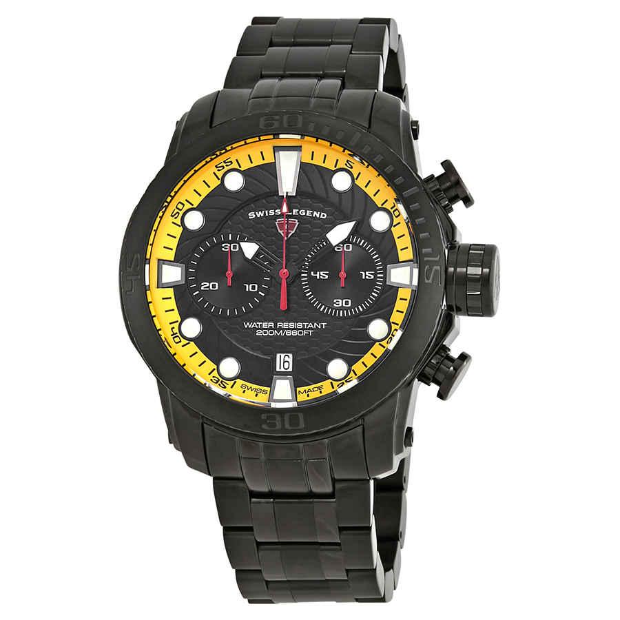 Swiss Legend Seagate Chronograph Mens Watch Sl-10624sm-bb-11-ya In Black,yellow