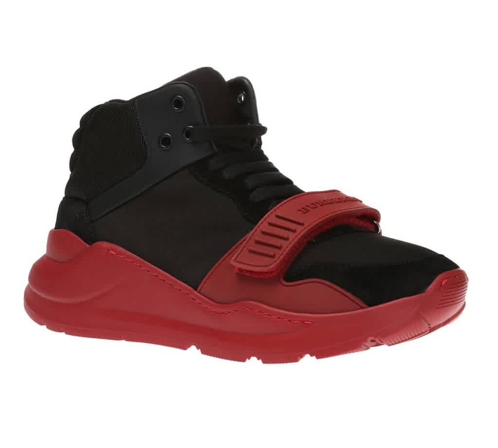 Burberry Mens Suede And Neoprene High-top Sneakers In Black,red