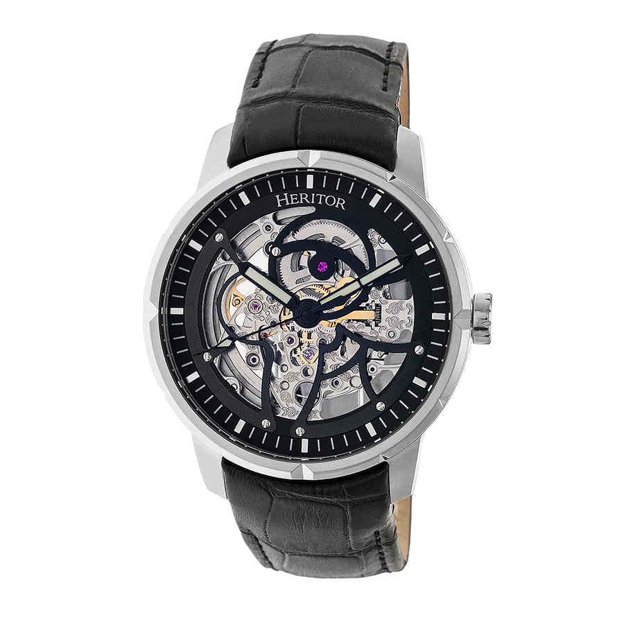 Heritor Ryder Automatic Skeleton Dial Mens Watch Hr4602 In Black,silver Tone