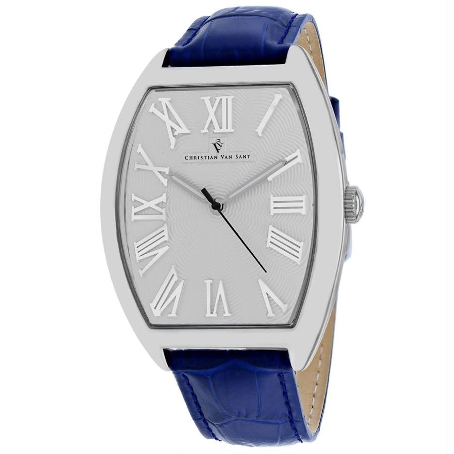 Christian Van Sant Royalty Quartz Silver Dial Mens Watch Cv0275 In Blue,silver Tone