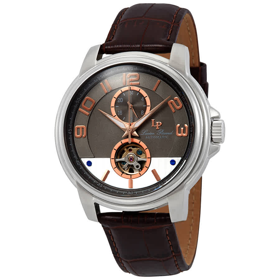 Lucien Piccard Open Heart Automatic Grey Dial Mens Watch Lp-28001a-014ra-brw In Brown