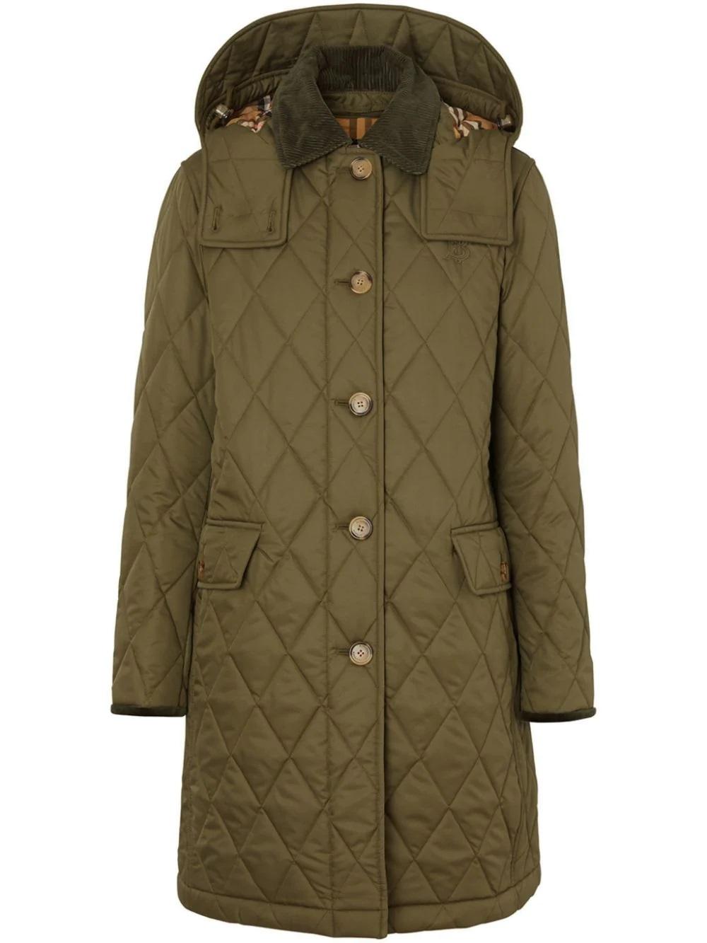 Burberry Detachable Hood Monogram Motif Quilted Coat In Green
