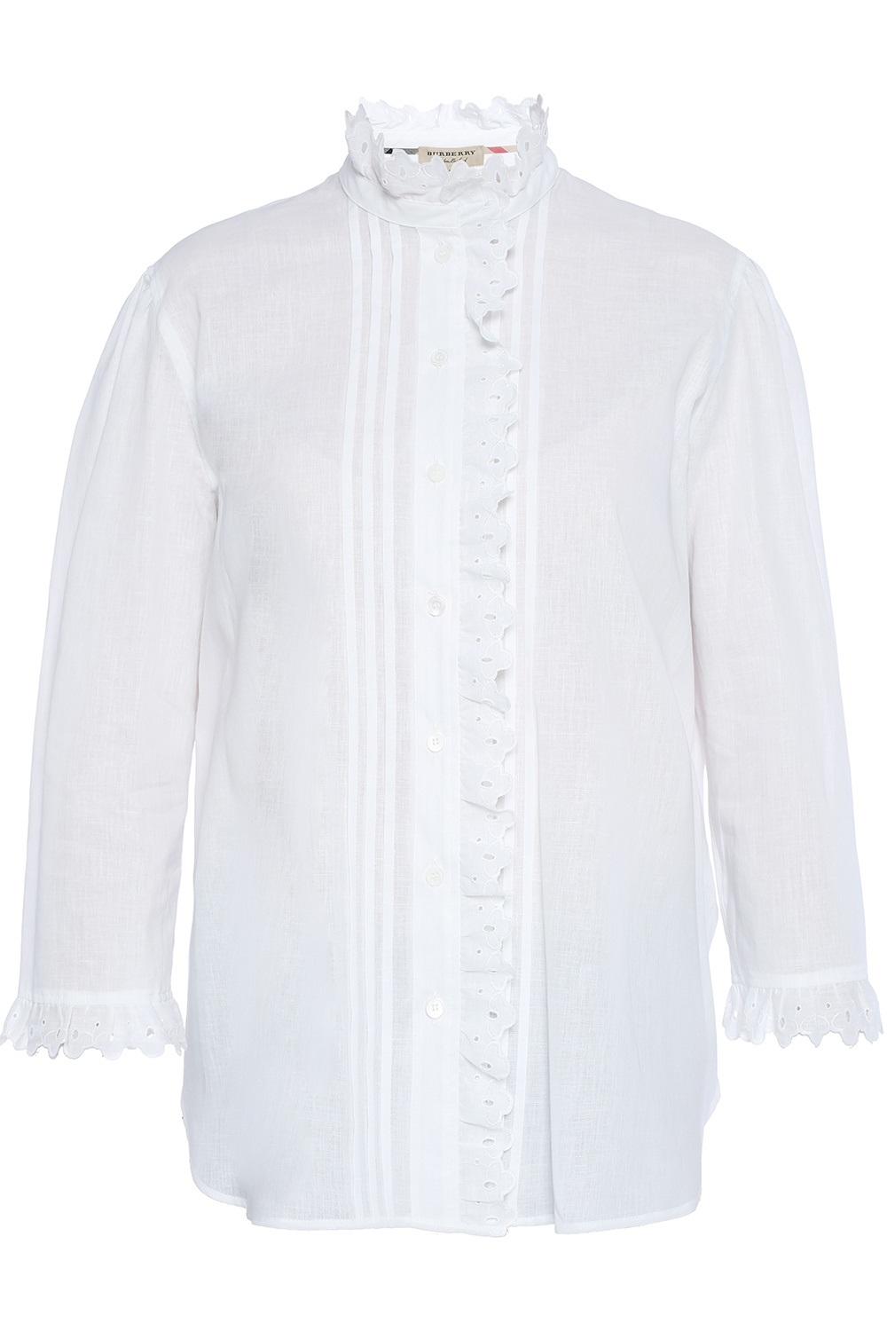 Burberry Begonia Ruffled Linen And Cotton-blend Shirt In White