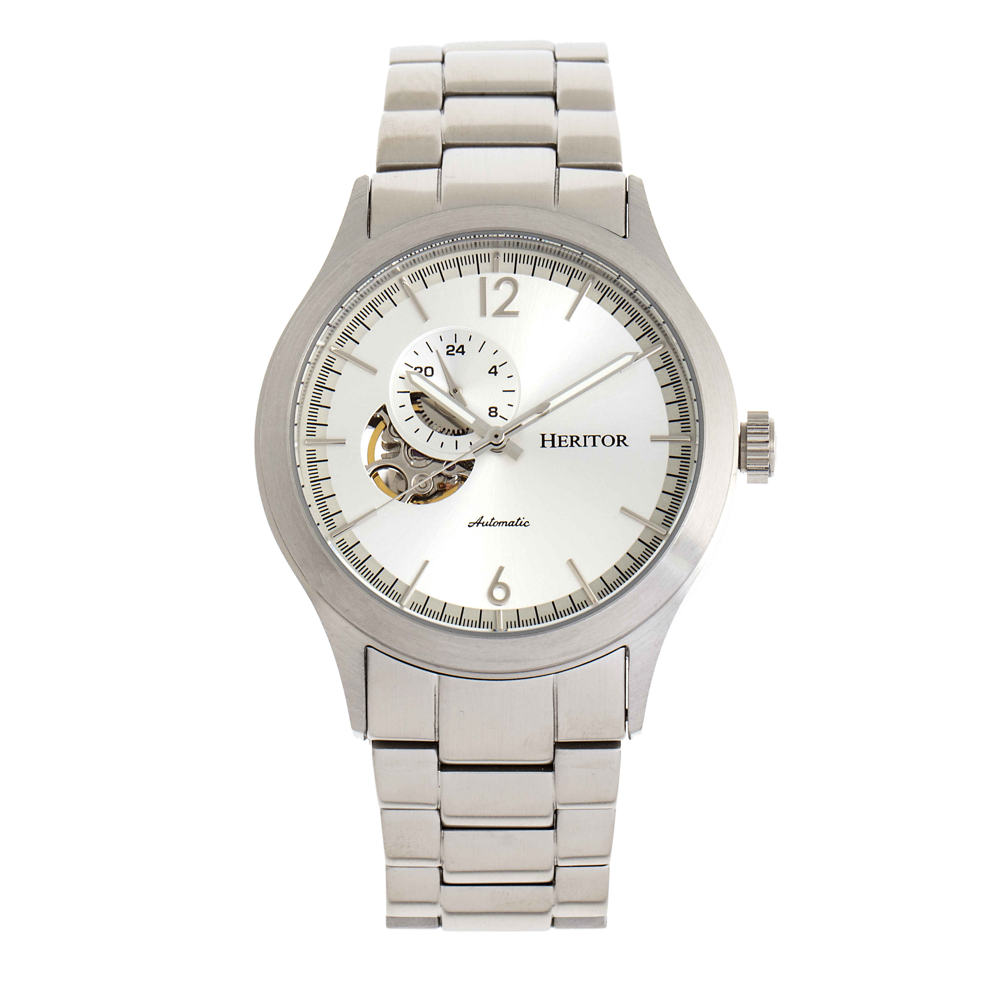Heritor Antoine Automatic Silver Dial Mens Watch Hr8501 In Silver Tone
