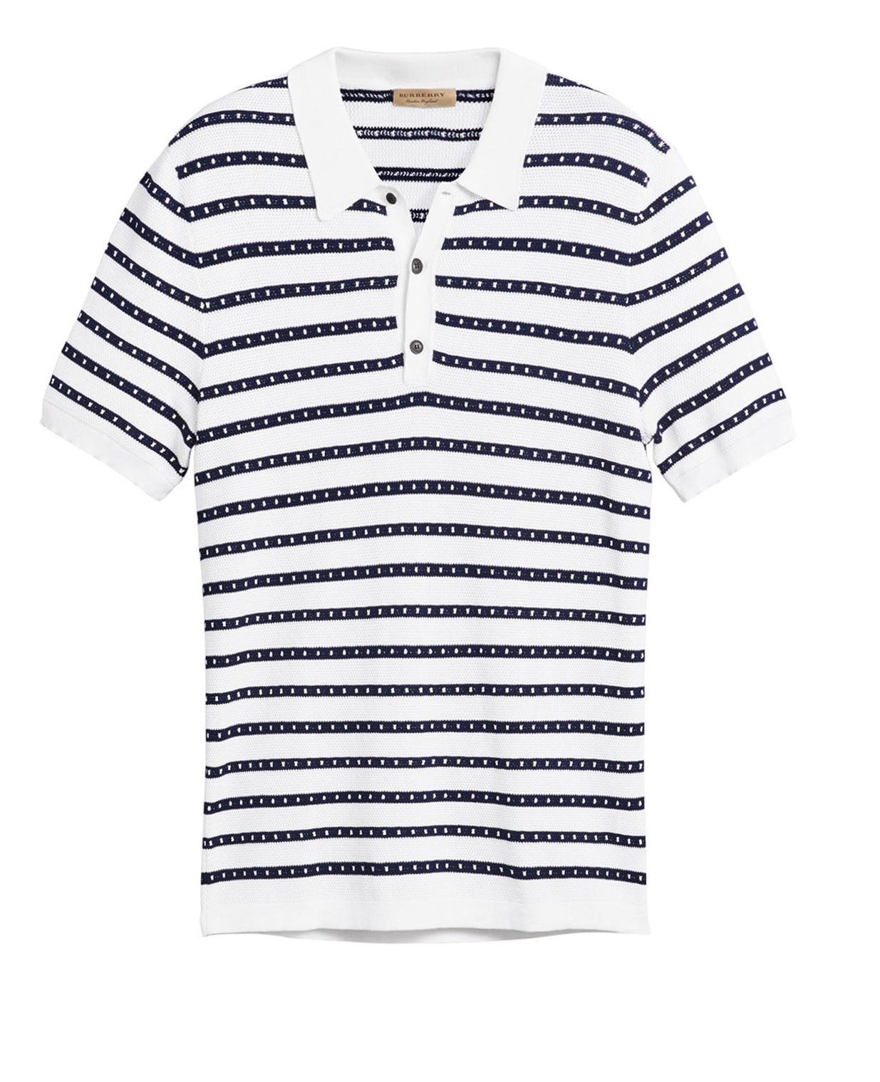Burberry Mens Natural White Striped Knitted Polo Shirt