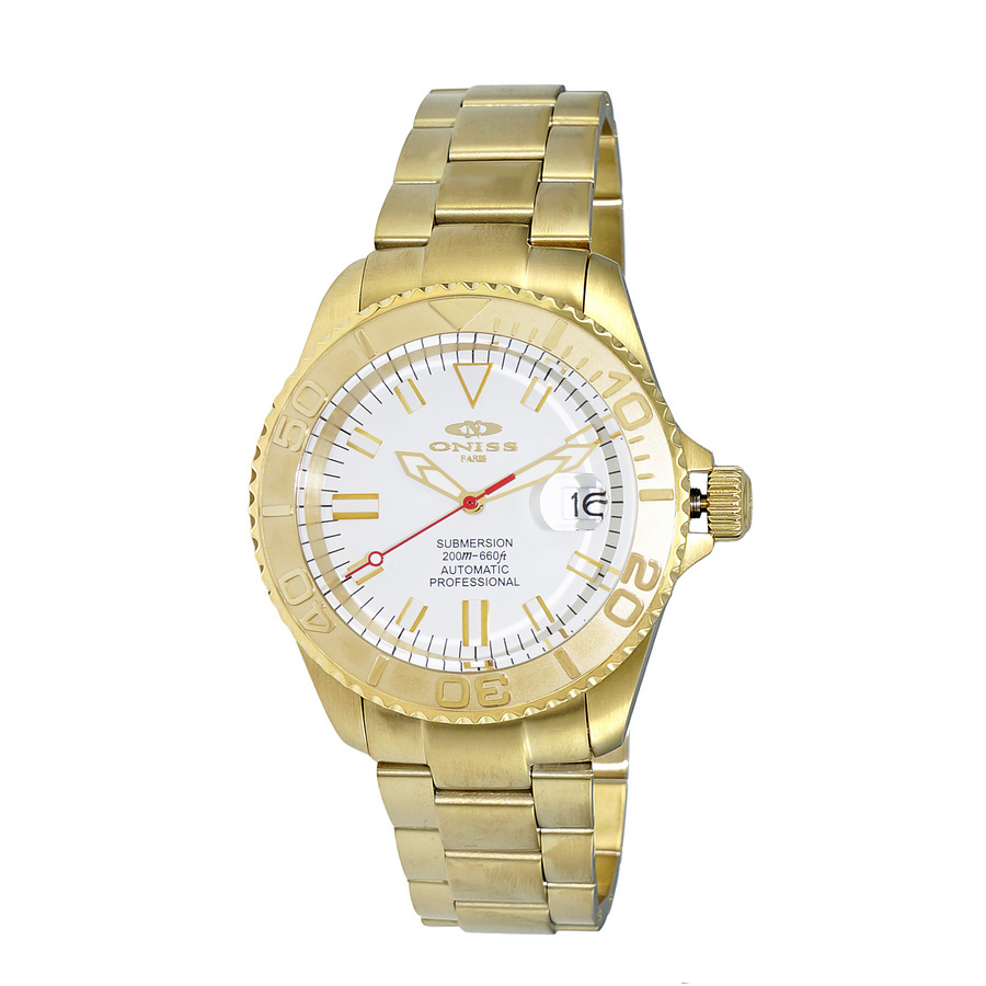 Oniss Automatic White Dial Mens Watch On5515-44-gwt In Gold