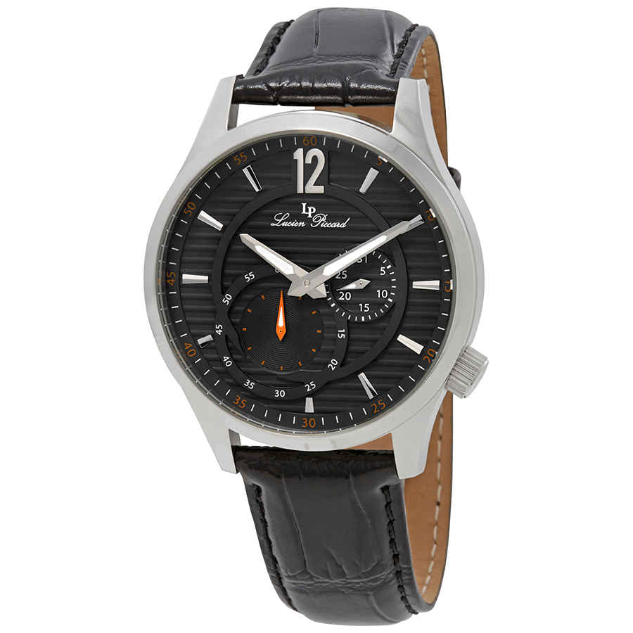 Lucien Piccard Burano Mens Dress Watch Lp-40022-014 In Black,gunmetal,orange