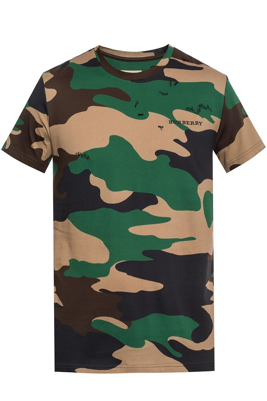 Burberry Camouflage Print Cotton T-shirt In Green