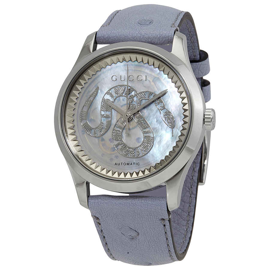 Gucci G-timeless Automatic Transparent Mother Of Pearl Dial Ladies Watch Ya1264113 In Blue