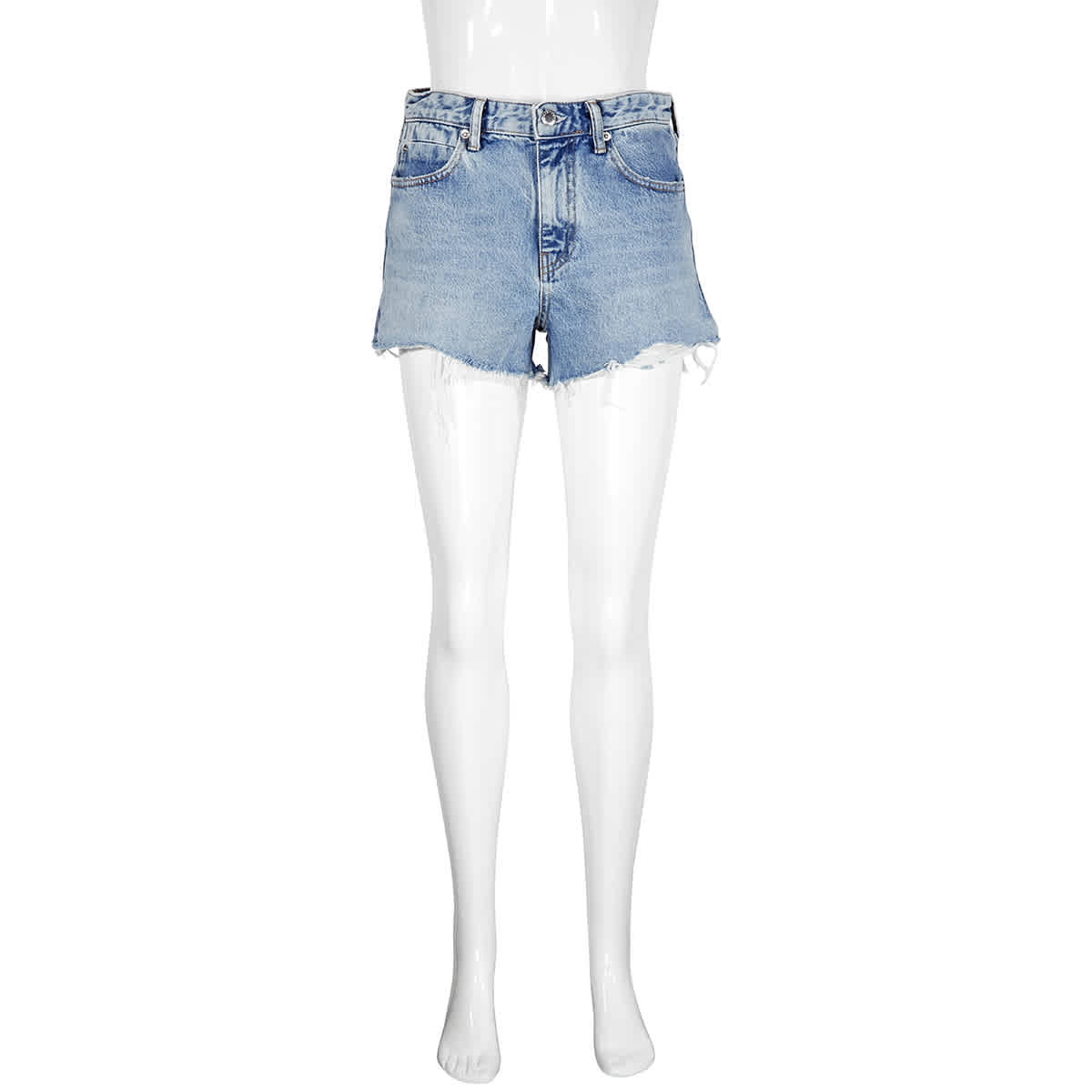 Alexander Wang T T By Alexanderwang Ladies Bite Zip Pebbled Bleach Wash Denim Shorts