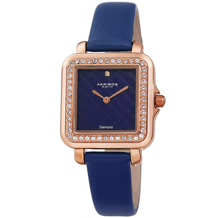 Akribos Xxiv Quartz Diamond Blue Dial Ladies Watch Ak1106bu In Blue,gold Tone,pink,rose Gold Tone