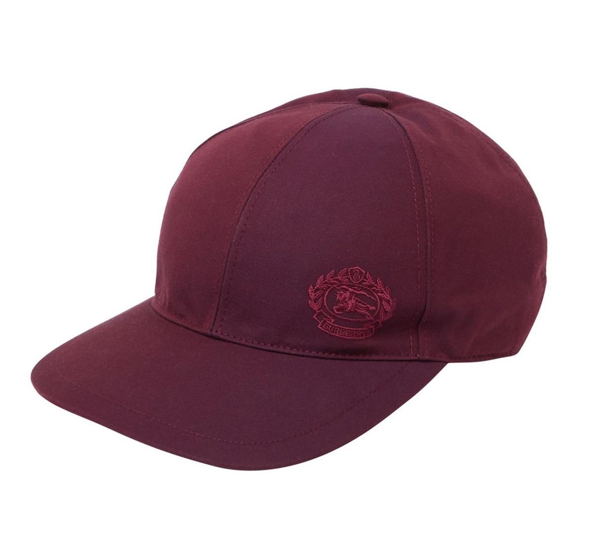 Burberry Alh Dk Logo Crest Cap In Boysenberry In Red