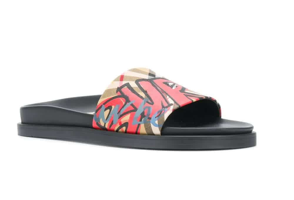 Burberry S Graffiti Print Vintage Check And Leather Slides In Black,yellow