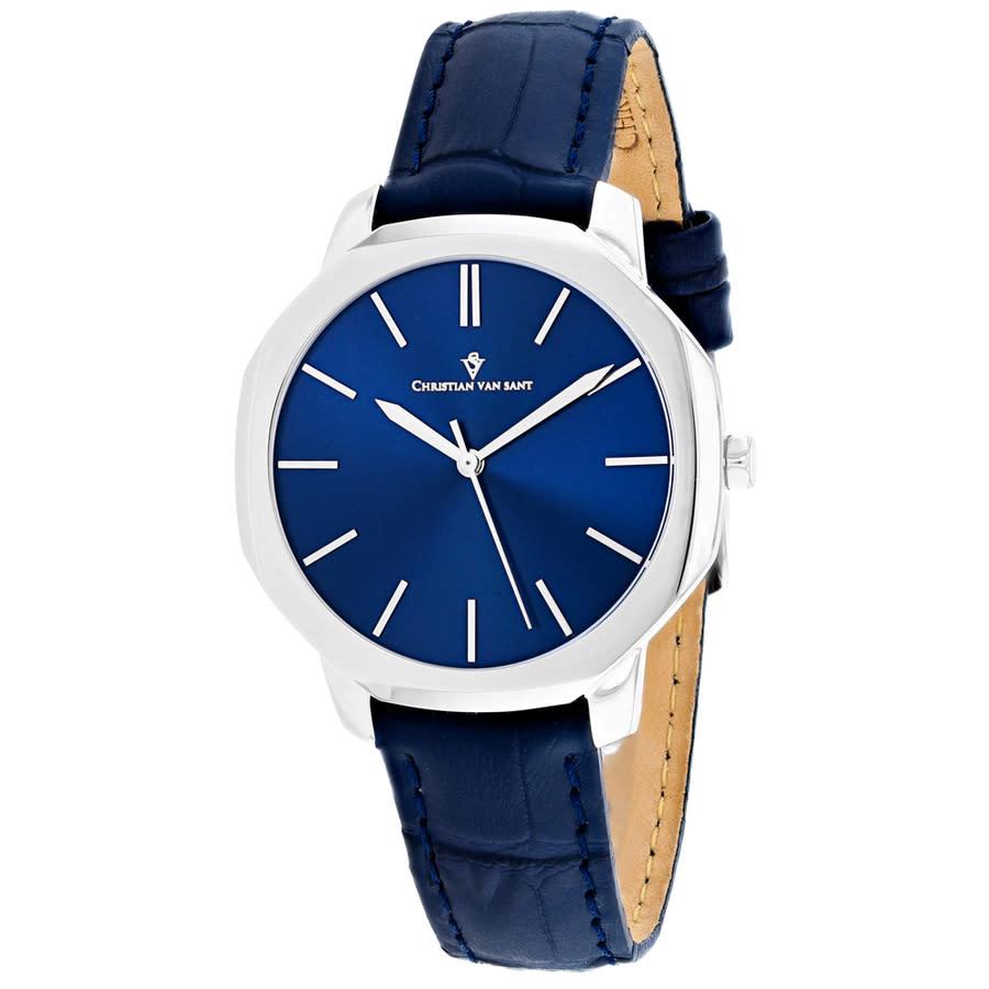 Christian Van Sant Octave Slim Quartz Blue Dial Ladies Watch Cv0502 In Blue,silver Tone
