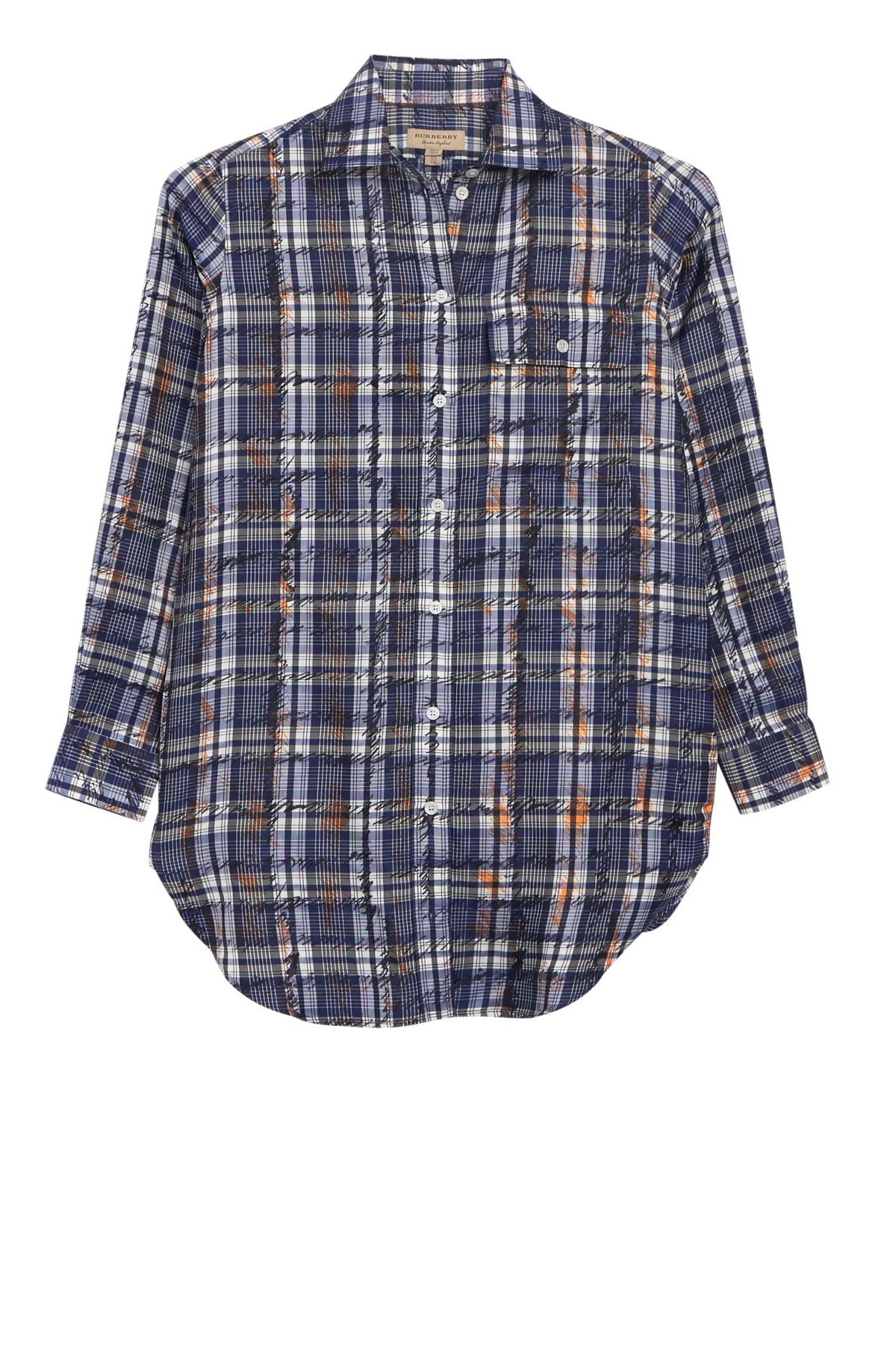 Burberry Chava Scribble Check Silk Shirt In Blue