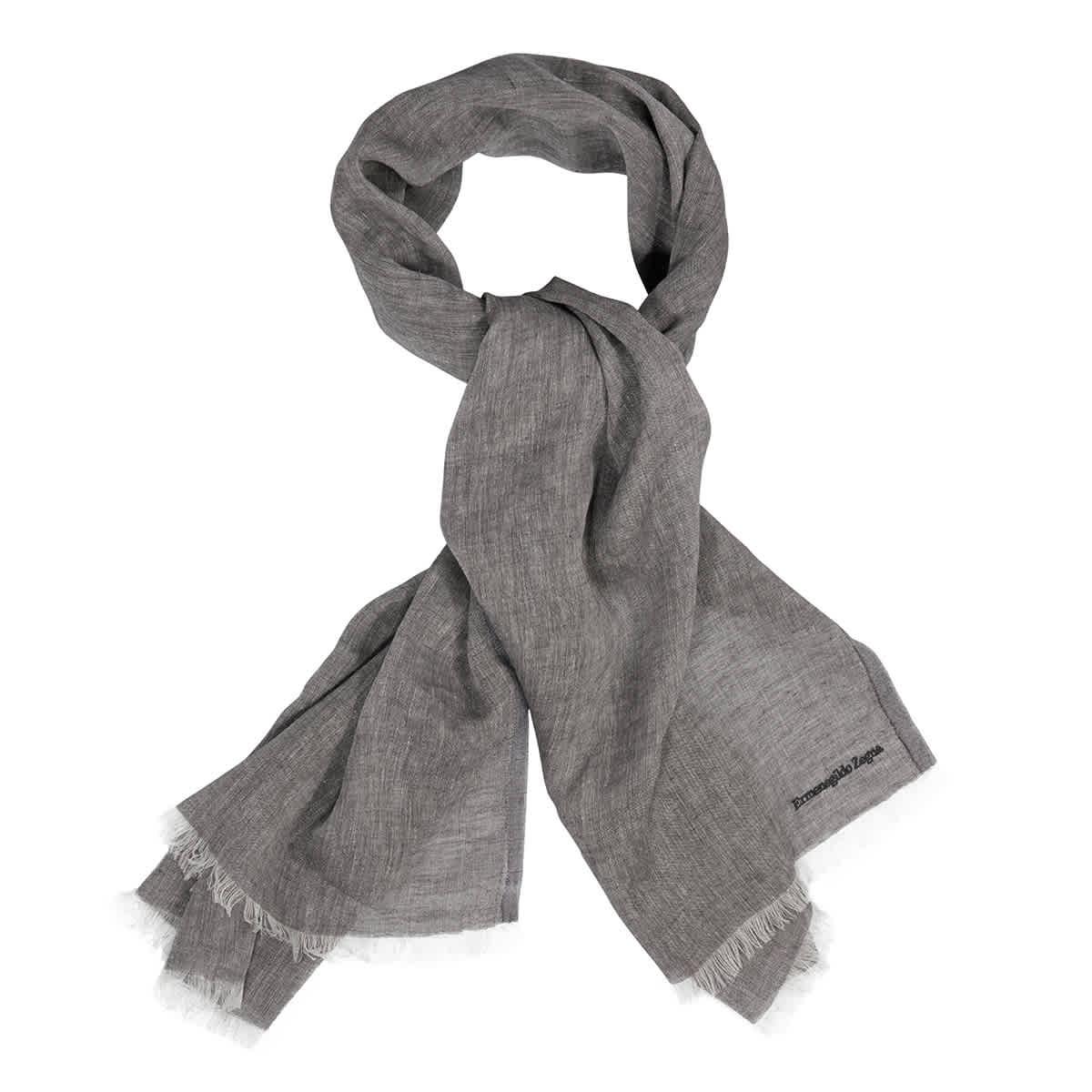 Ermenegildo Zegna Linen And Cashmere Fringed Scarf In Grey