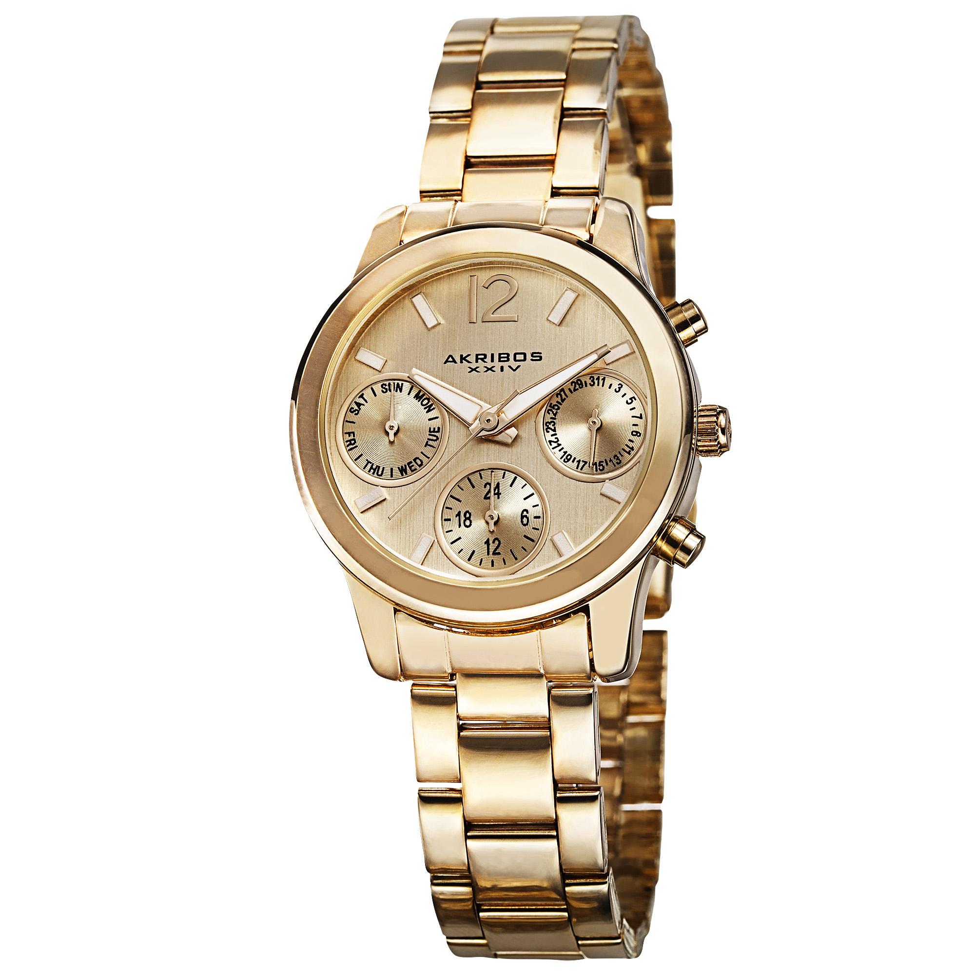Akribos Xxiv Ultimate Multi-function Gold Dial Ladies Watch Ak709yg