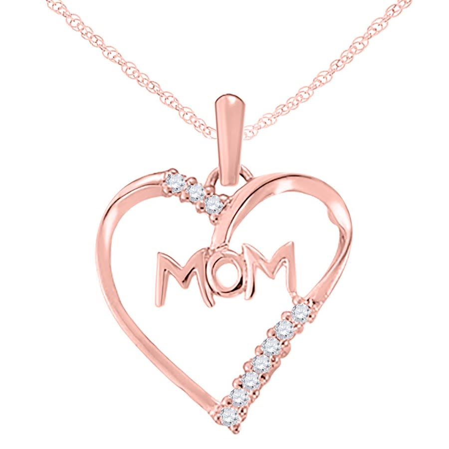 Maulijewels 0.10 Carat Natural Diamond Mom Heart Pendant For Woman Crafted In 10k Rose Gold With 18'' Sterling S In Gold Tone,pink,rose Gold Tone,silver Tone,white