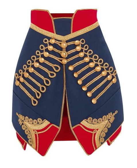 Burberry Ladies Metallic-embroidered Wool-felt Mini Skirt In Blue,gold Tone,red