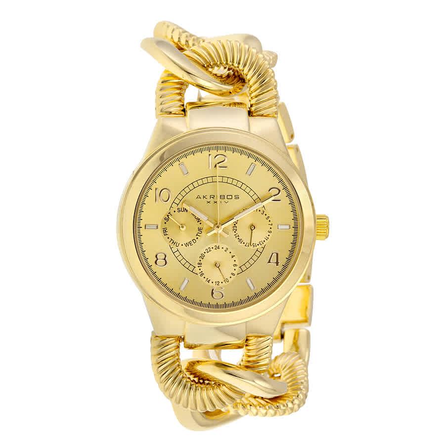Akribos Xxiv Multi-functiongold-tone Alloy Ladies Watch Ak721yg In Gold