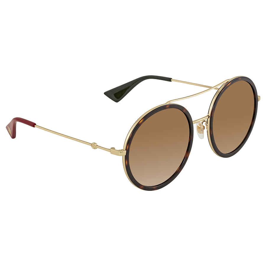 Gucci Round Havana Ladies Sunglasses Gg0061s 013 56 In Brown,gold Tone