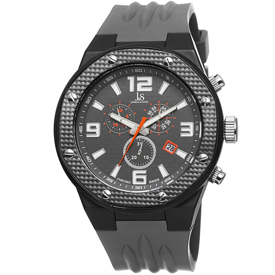 Joshua And Sons Joshua & Sons Chronograph Grey Dial Grey Silicone Mens Watch Js62bk In Gray