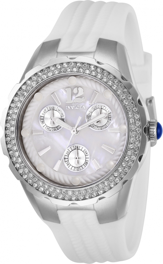 Invicta Angel Quartz Crystal White Dial Ladies Watch 29084 In Silver Tone,white