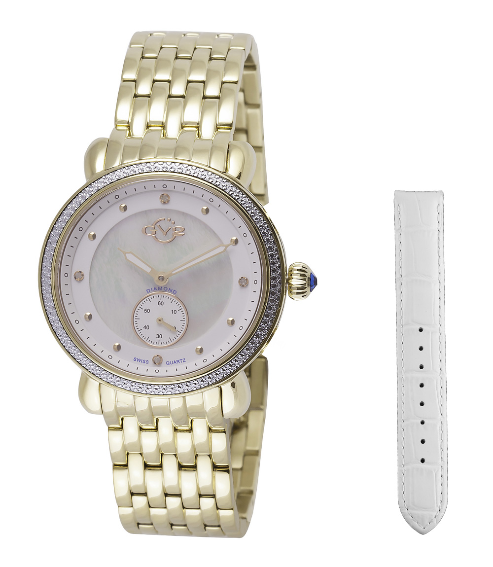 Gv2 By Gevril Marsala White Dial Diamond Ladies Watch 9831 In Gold Tone,mother Of Pearl,silver Tone,white