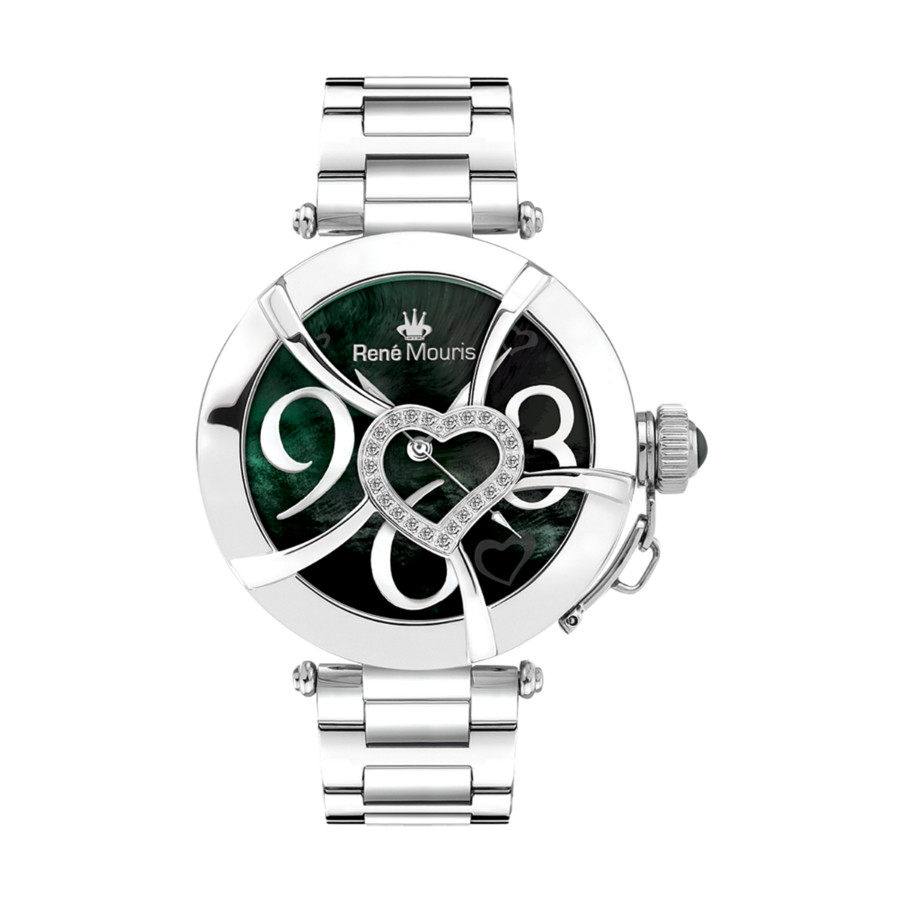 Rene Mouris Coeur D'amour Mother Of Pearl Dial Ladies Watch 50102rm3 In Black,mother Of Pearl,silver Tone,white