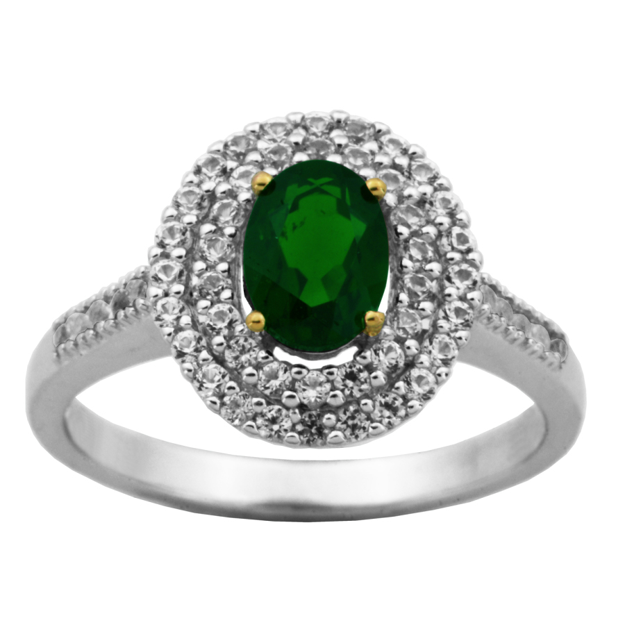 925 Couture 18k Yellow Gold And Rhodium Plated Sterling Silver Two Tone Chrome Diopside Created White Sapphire D In Gray