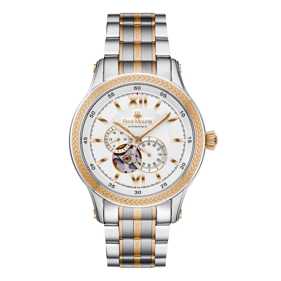 Rene Mouris Corona White Dial Mens Watch 70106rm3 In Gold Tone,pink,rose Gold Tone,silver Tone,two Tone,white