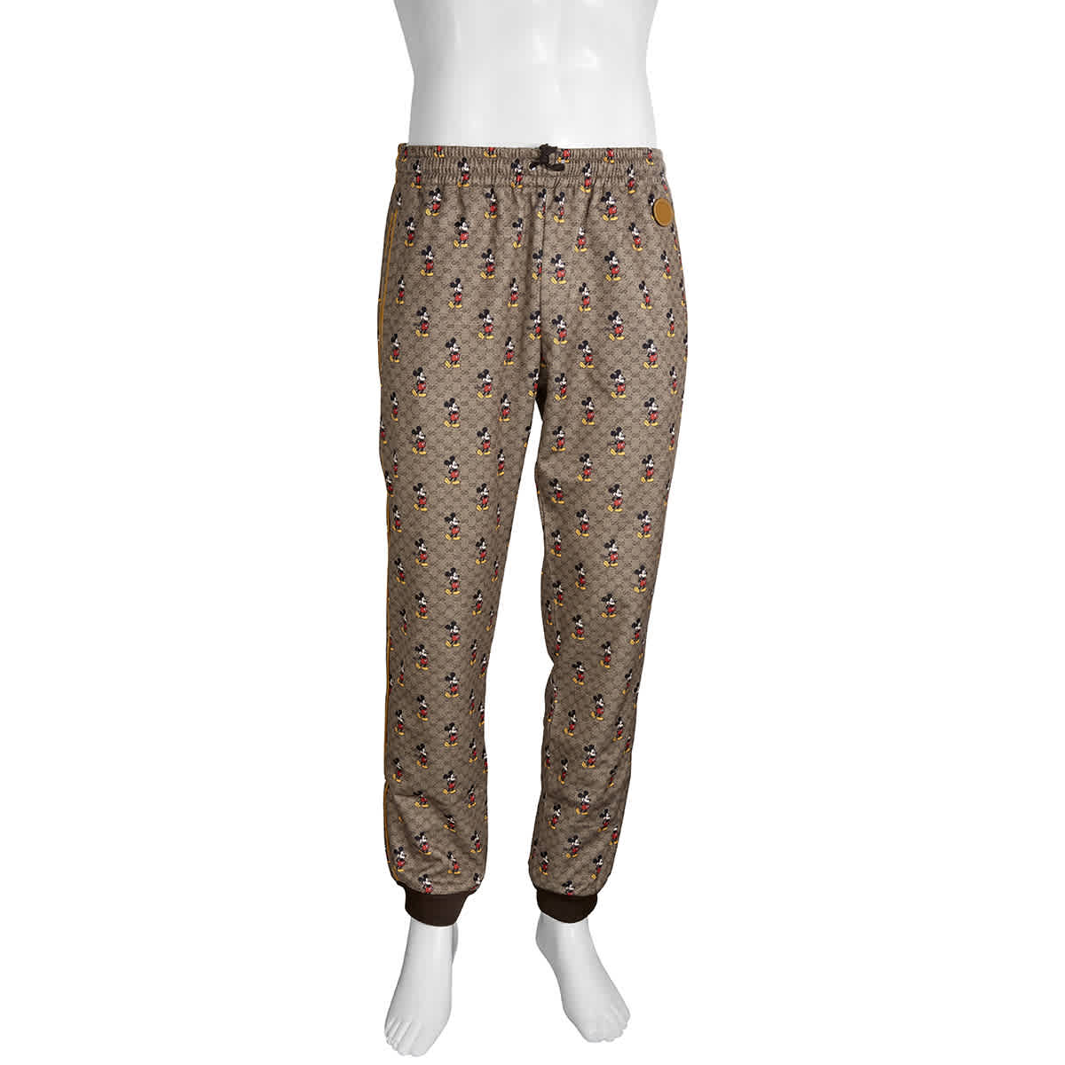Gucci Gg Mickey Mouse Print Pants In Brown