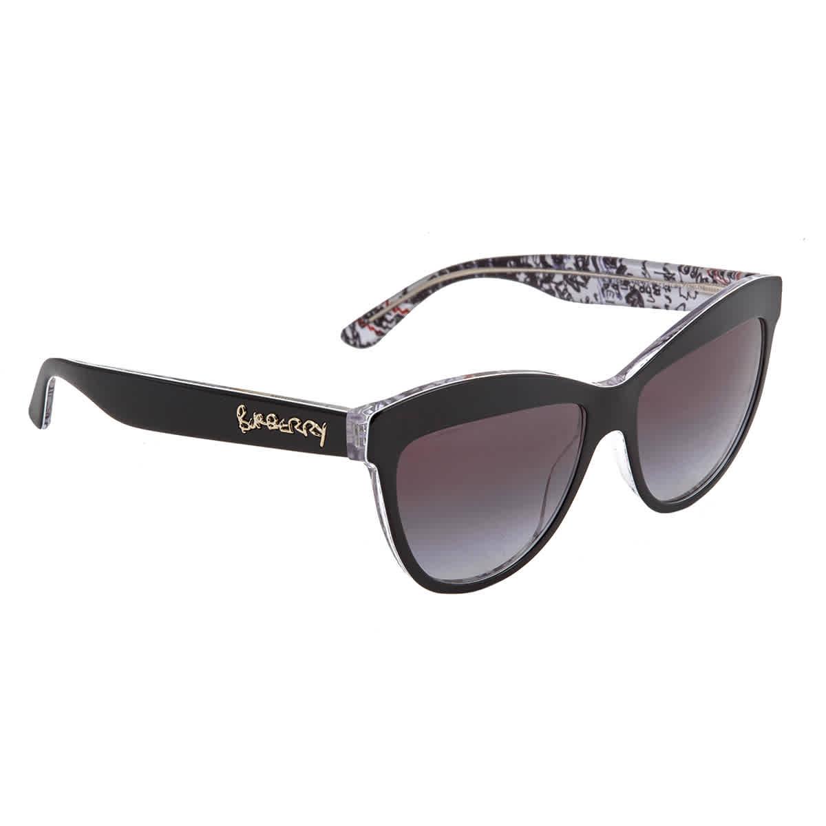Burberry Grey Gradient Cat Eye Ladies Sunglasses Be4267 37138g In Black,grey