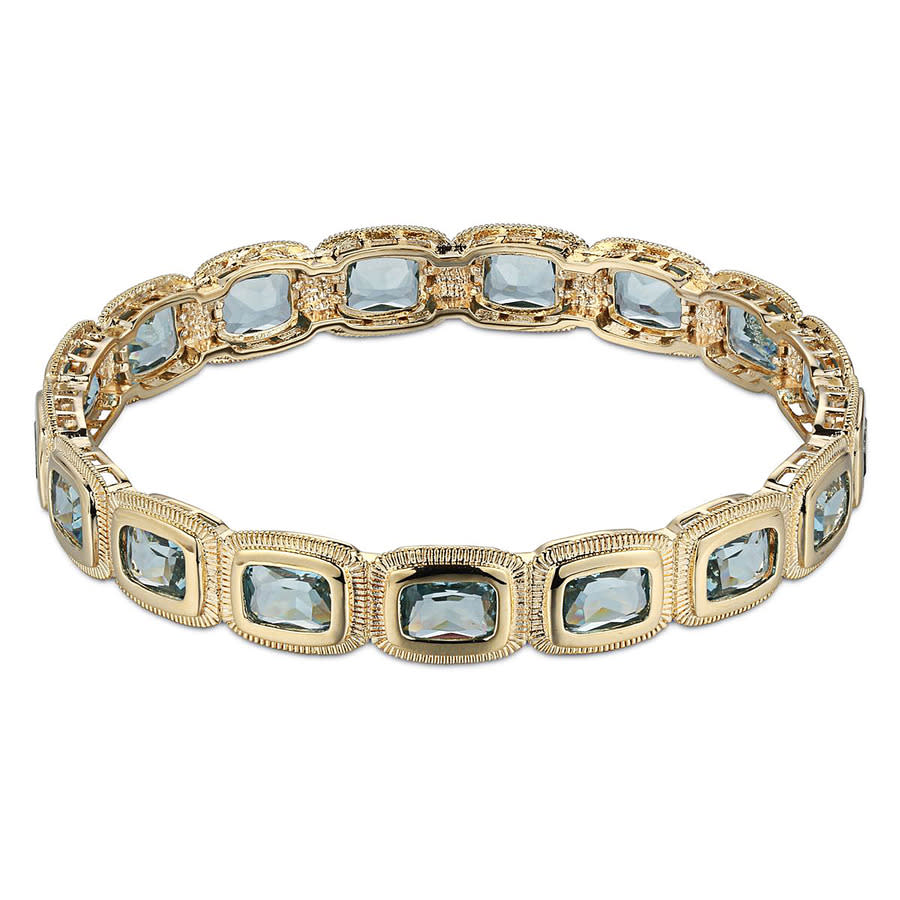 Envie 14k Yellow Gold Plated Bronze Cushion Cut Created Spinel Bangle Bracelet