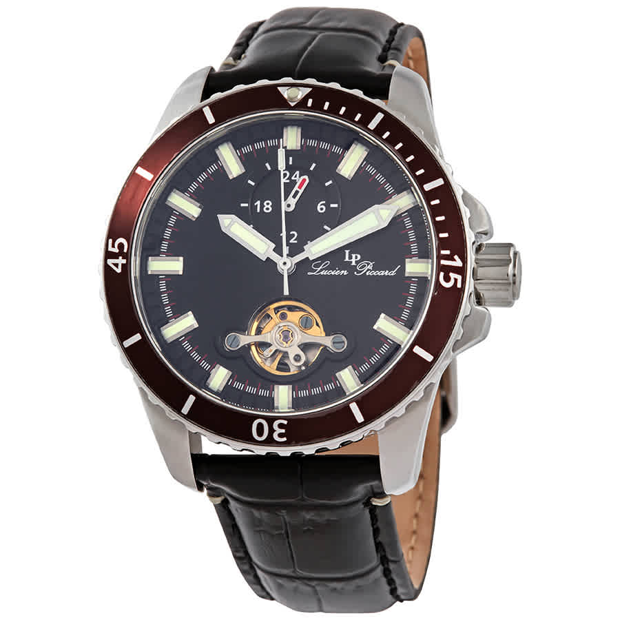 Lucien Piccard Automatic Black Dial Mens Watch 1298a1 In Black,red,silver Tone