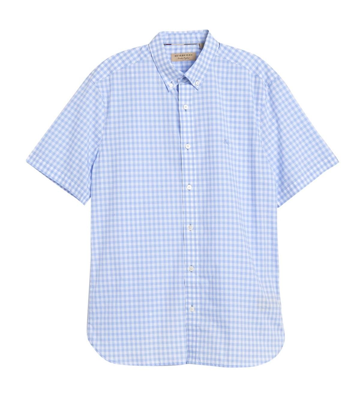 Burberry Stopford Plaid Slim Fit Shirt In Pale Blue