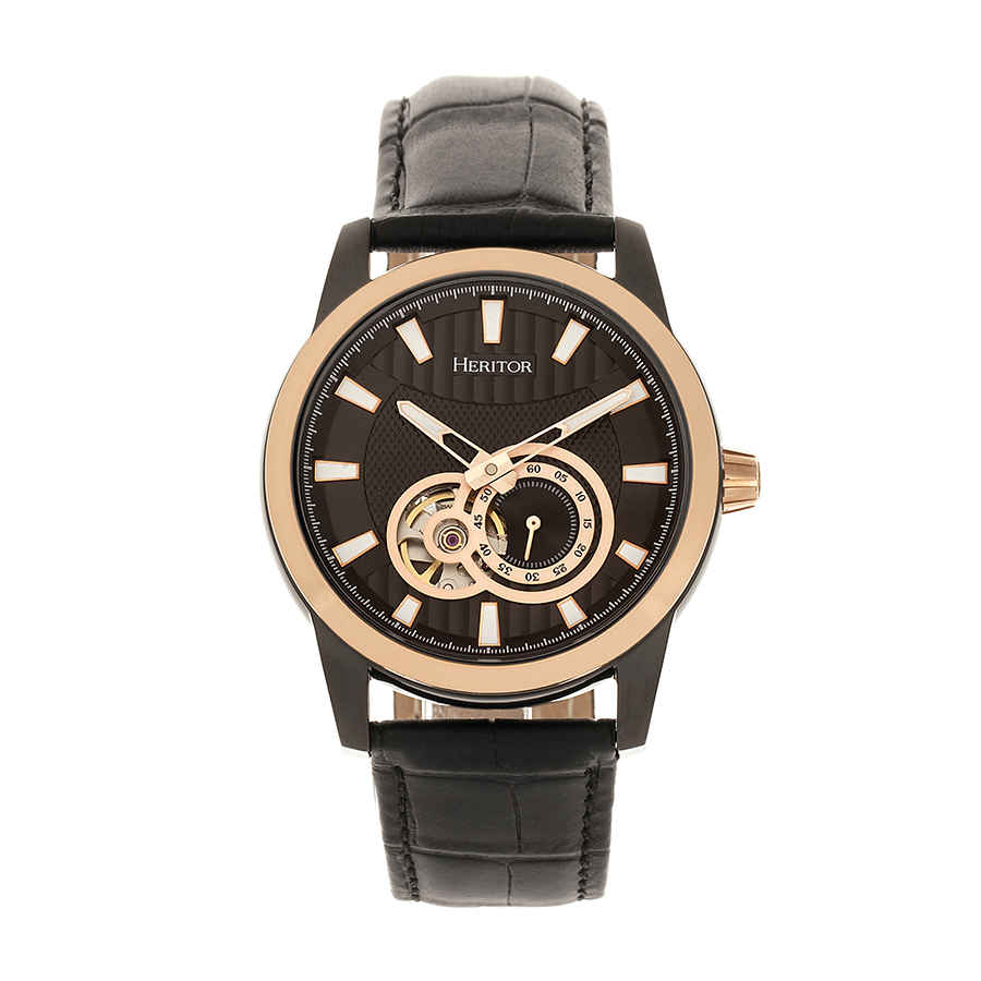 Heritor Davidson Automatic Black Dial Mens Watch Hr8006 In Black,gold Tone,pink,rose Gold Tone