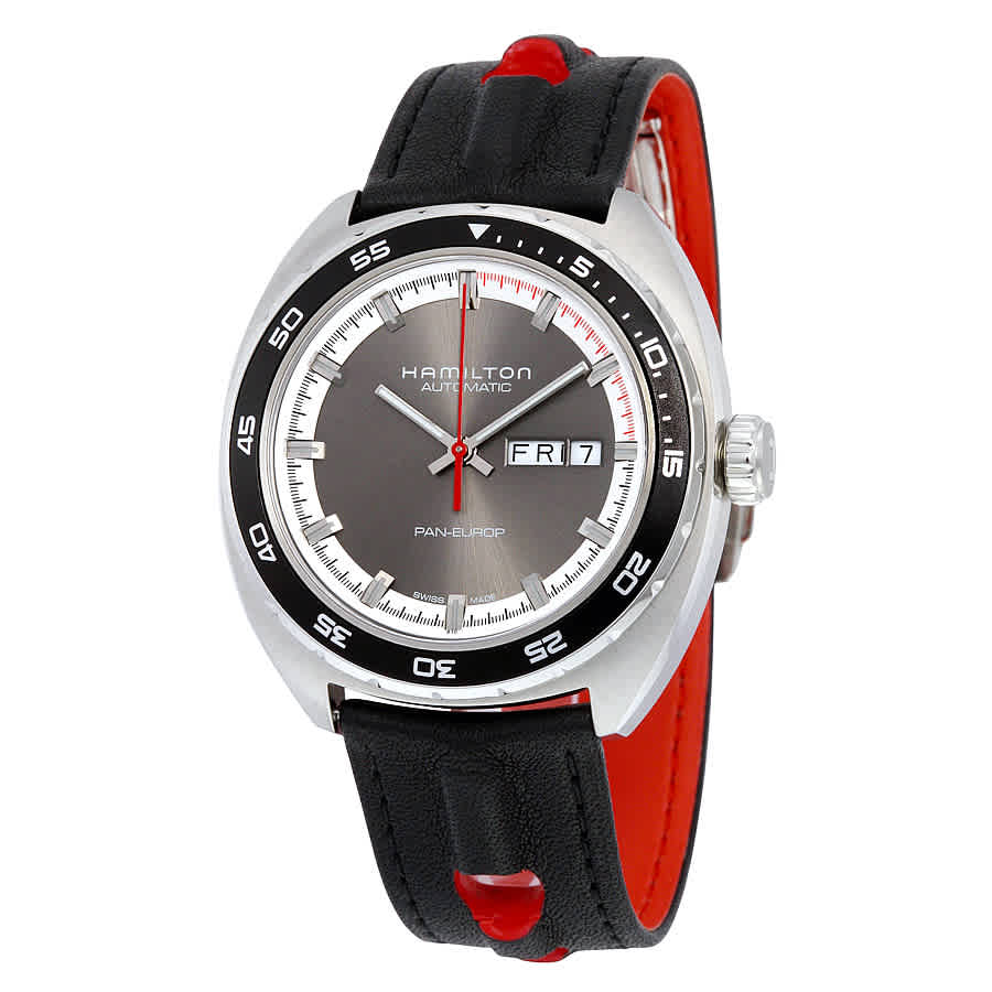 Hamilton American Classic Pan Europ Automatic Mens Watch H35415781 In Black,grey,red,silver Tone