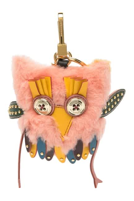 Burberry Mavis The Owl Shearling And Leather Charm In Antique Yellow In Multi